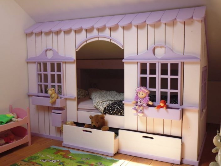 lit cabane mini house pour fille et gar on abramacabane. Black Bedroom Furniture Sets. Home Design Ideas