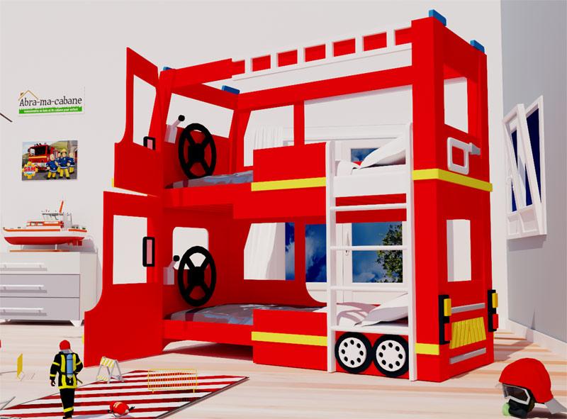 lit cabane camion pompier abra ma cabane. Black Bedroom Furniture Sets. Home Design Ideas
