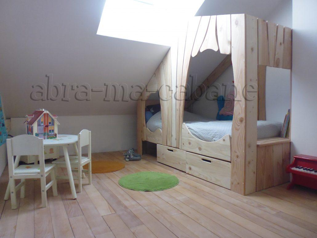 Chambre Lit Cabane Fille lit cabane bois massif enfant sequoia - abra-ma-cabane