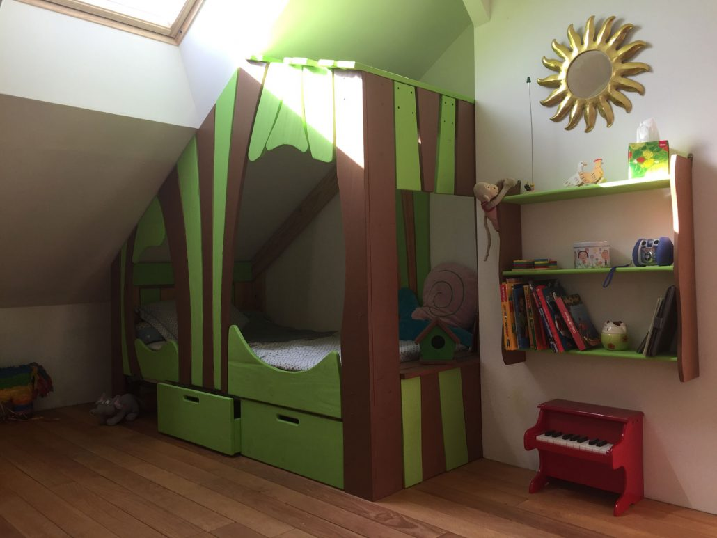 Lit Superposé Sous Pente lit cabane bois massif enfant sequoia - abra-ma-cabane