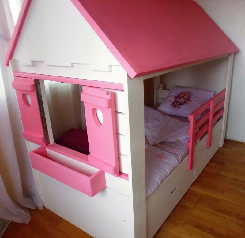 Lit Cabane Fille Maison Abramacabane - Lit cabane rose