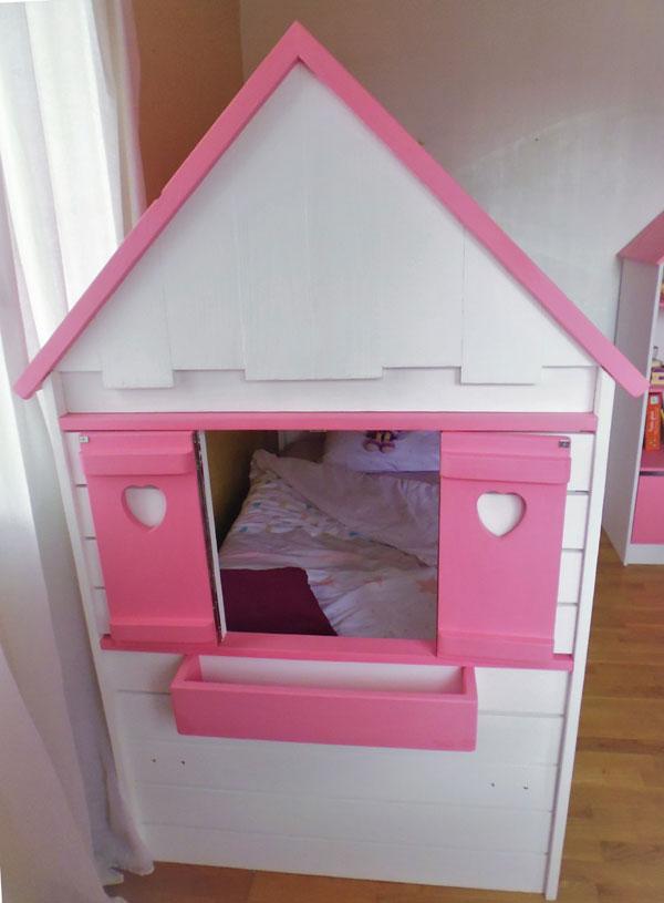 Lit cabane fille maison lit cabane en bois pour enfant abra ma cabane - Lit maison fille ...