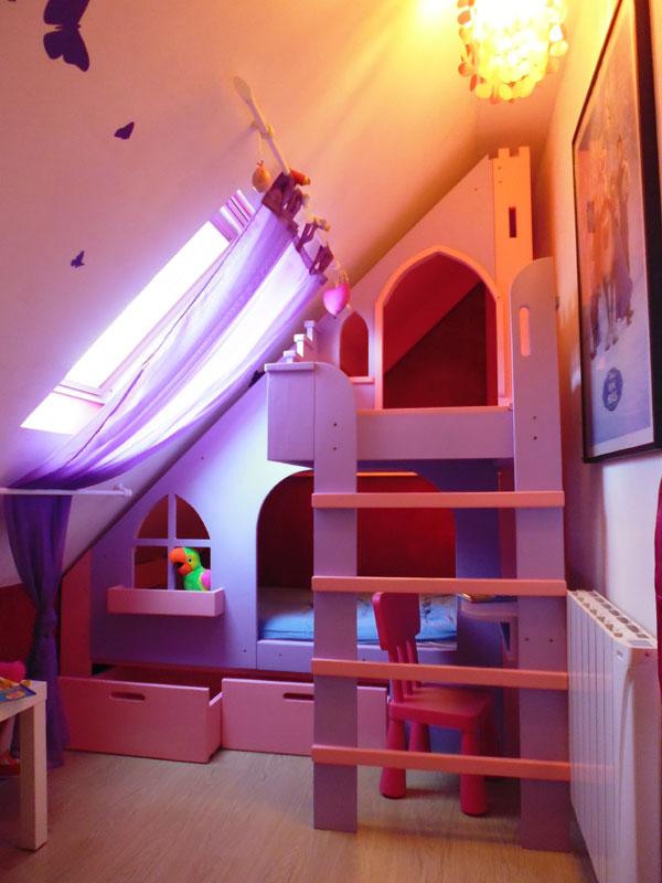 Lit cabane en bois sur mesure pour enfant abra ma cabane - Lit chateau pour petite fille ...