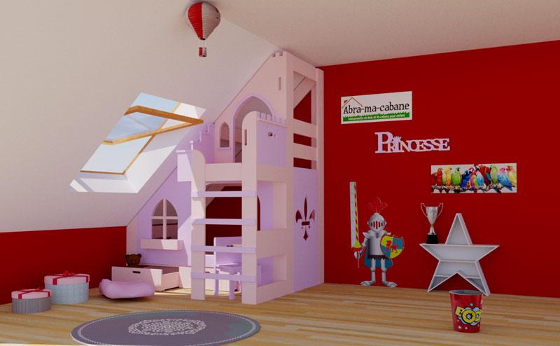 Lit cabane chateau de princesse abra ma cabane - Lit chateau pour petite fille ...