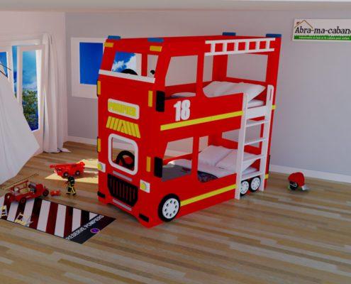 Lit cabane superposé camion de pompier