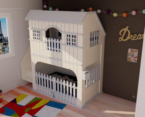 lit-cabane superpose en 3d