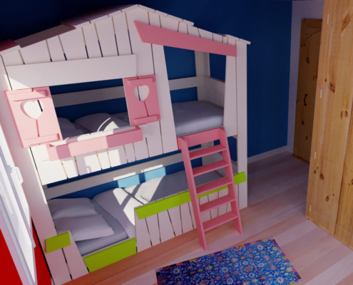 lit superposé avec des volets roses